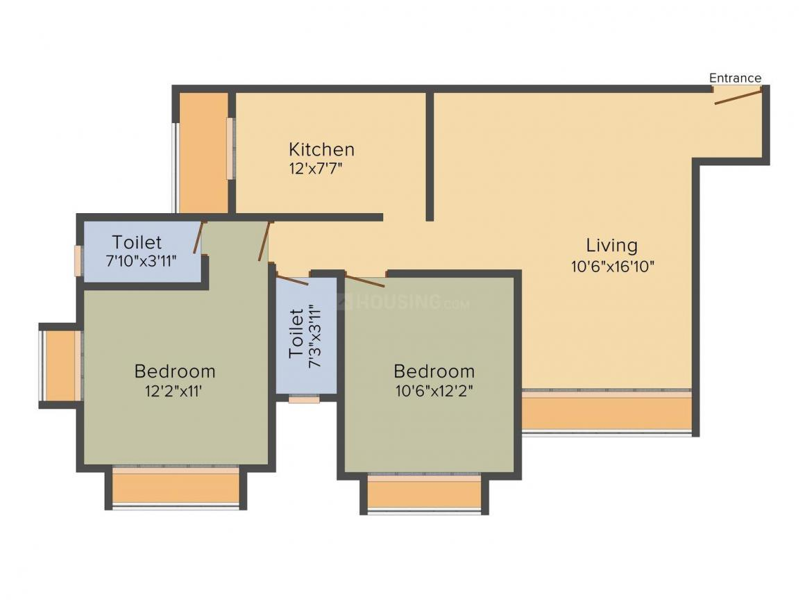 Floor Plan Image of 0 - 955 Sq.ft 2 BHK Apartment for buy in Gemstar Grotto Heritage