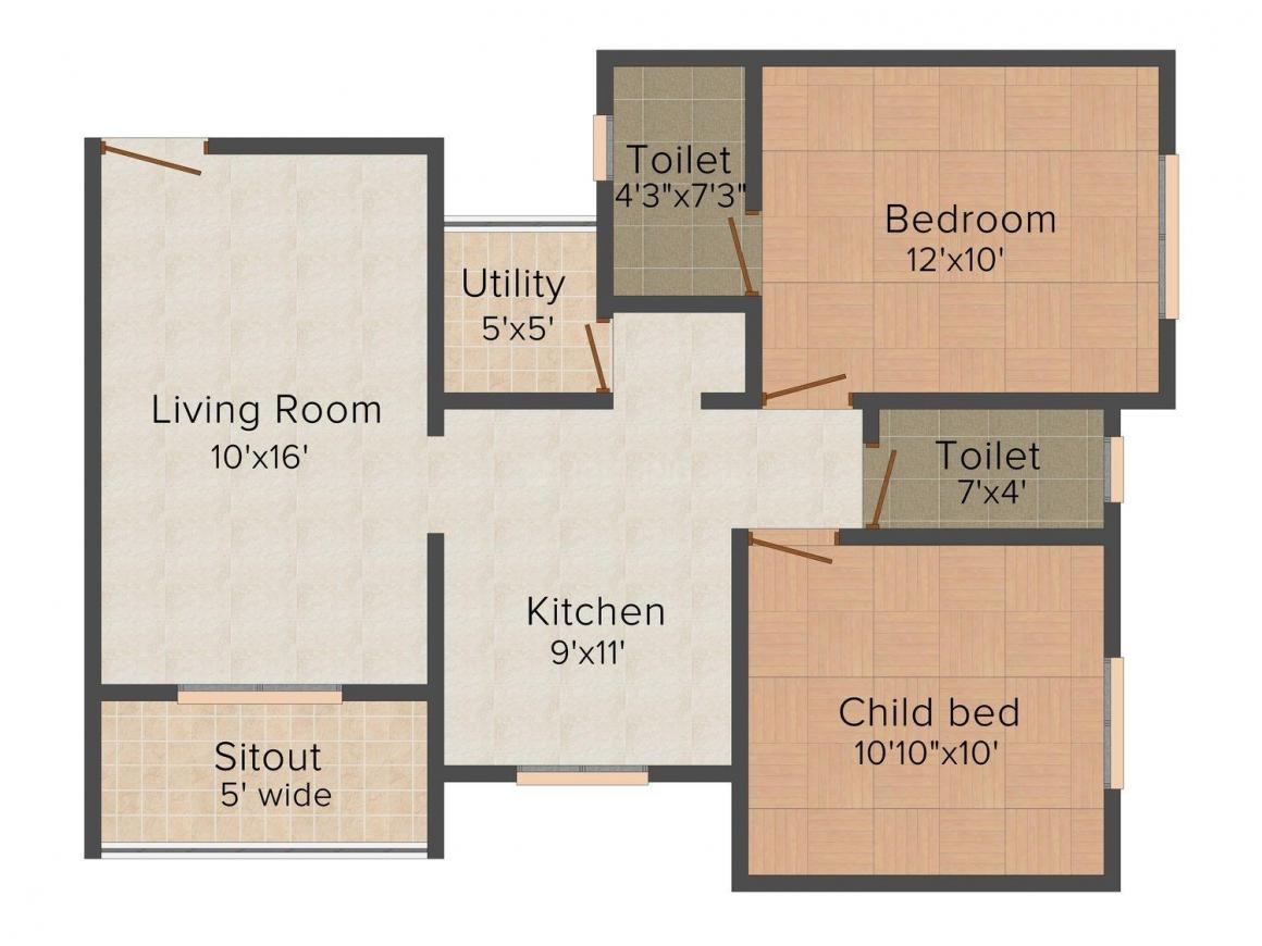 Floor Plan Image of 654.0 - 673.0 Sq.ft 2 BHK Apartment for buy in K.B. Rohamare Sai Manomay