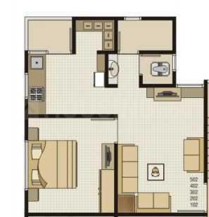 Savaliya Krish Residency 2 Floor Plan: 1 BHK Unit with Built up area of 610 sq.ft 1