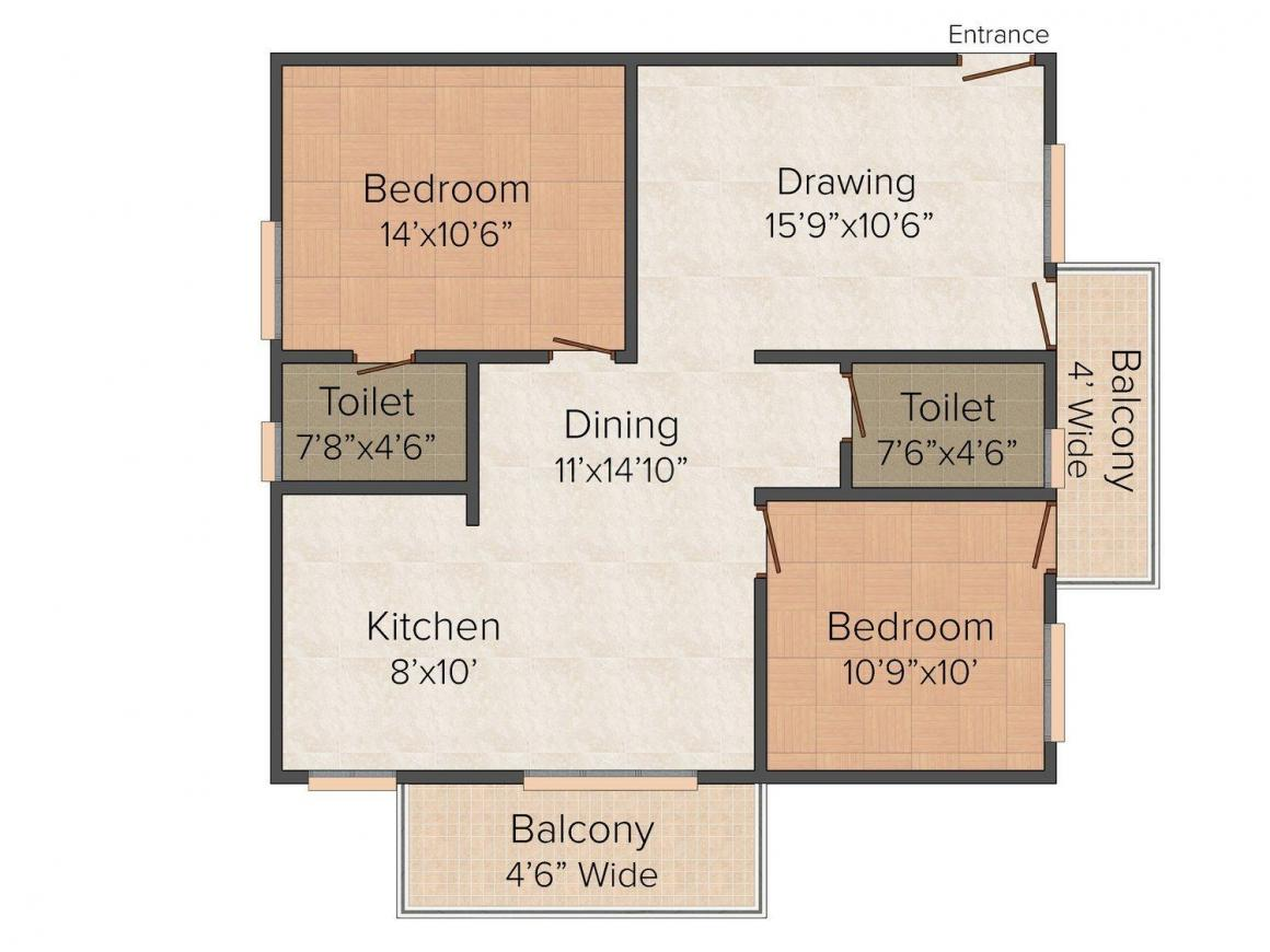 Floor Plan Image of 0 - 1197.0 Sq.ft 2 BHK Apartment for buy in Sharanya Arcade