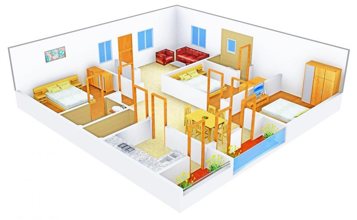 Floor Plan Image of 1575.0 - 1625.0 Sq.ft 3 BHK Apartment for buy in Eternal Eshwari Nilayam