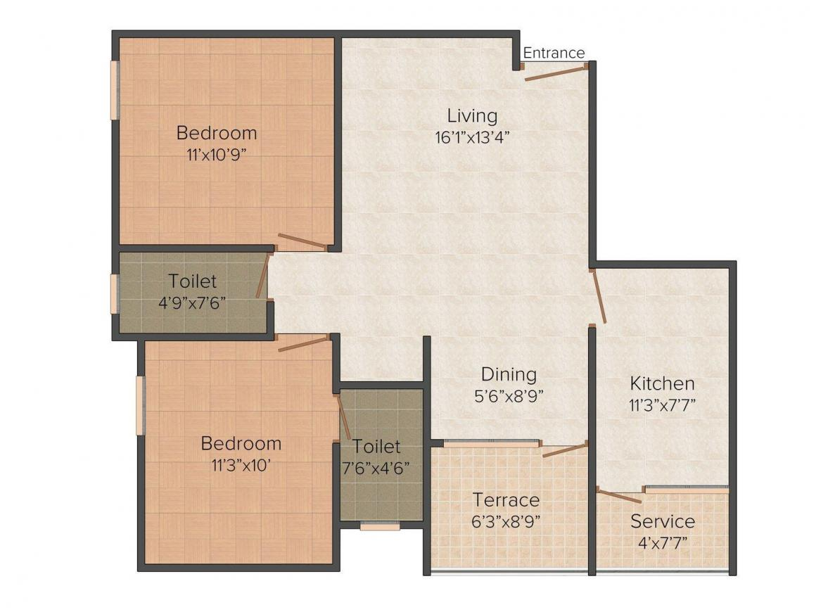 Floor Plan Image of 1050 - 1640 Sq.ft 2 BHK Apartment for buy in Victory Timberly Victory