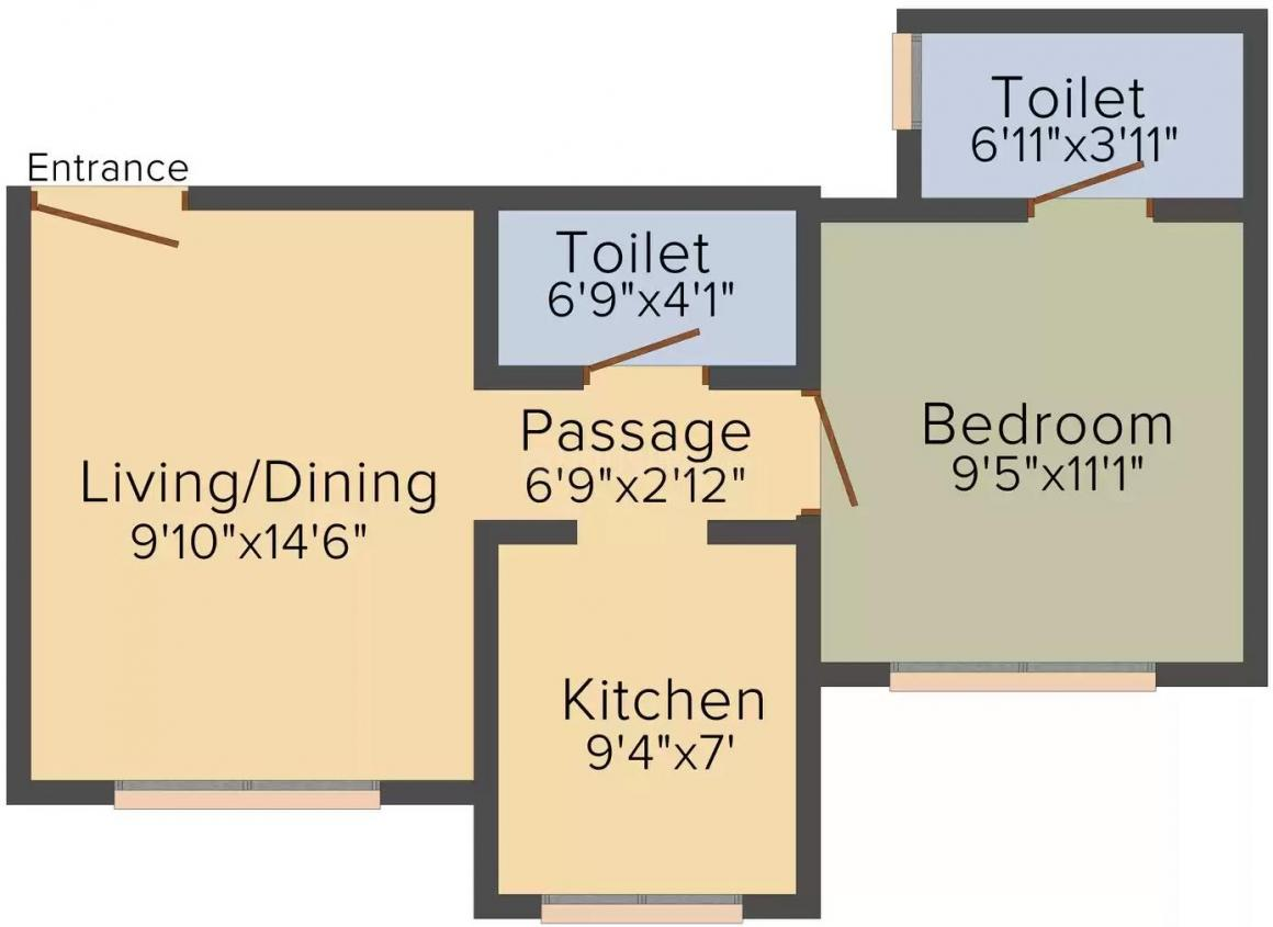 Soundlines Florence Floor Plan: 1 BHK Unit with Built up area of 657 sq.ft 1