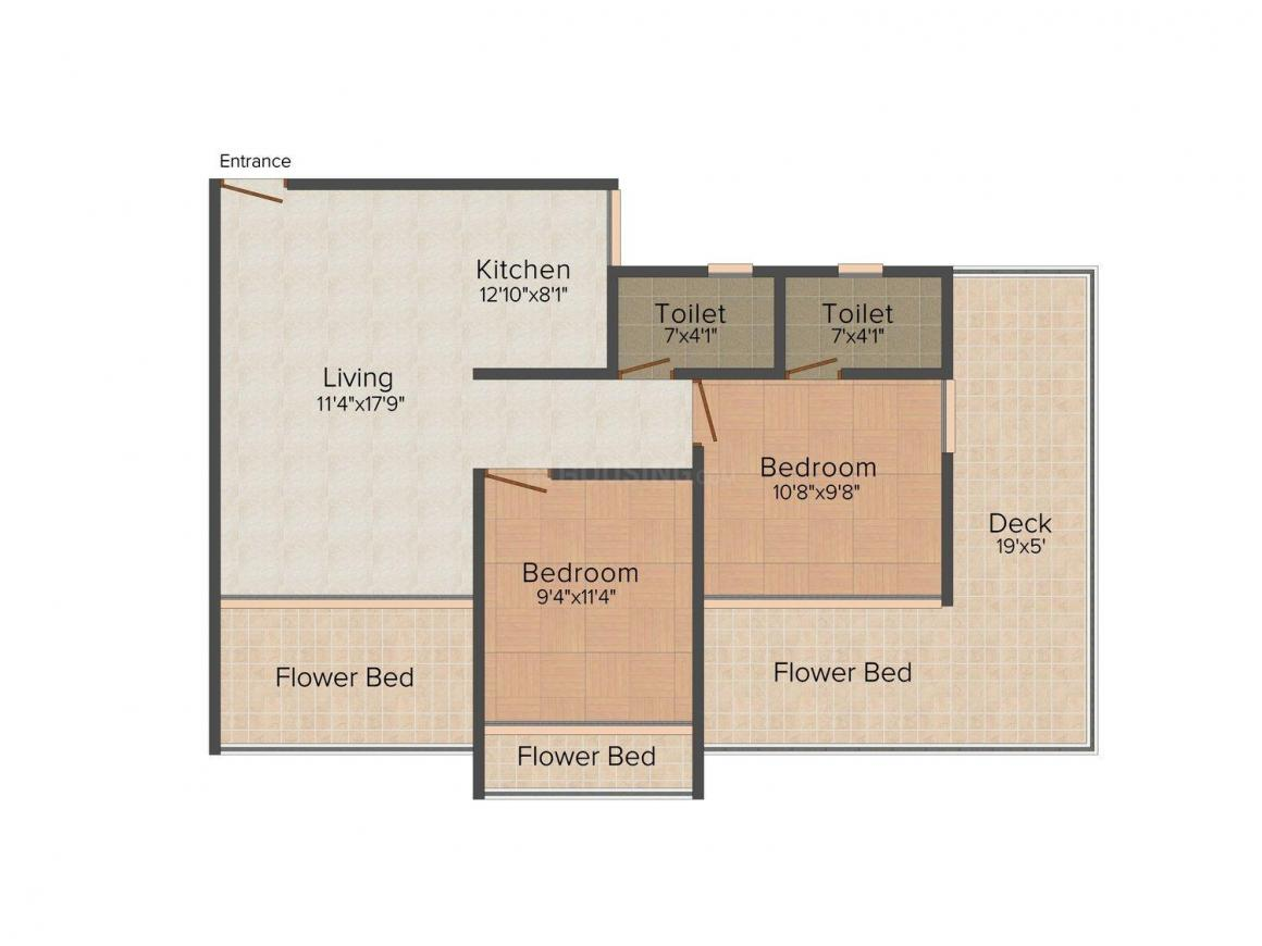 Floor Plan Image of 1280 - 1300 Sq.ft 2 BHK Apartment for buy in Town Astha Heights