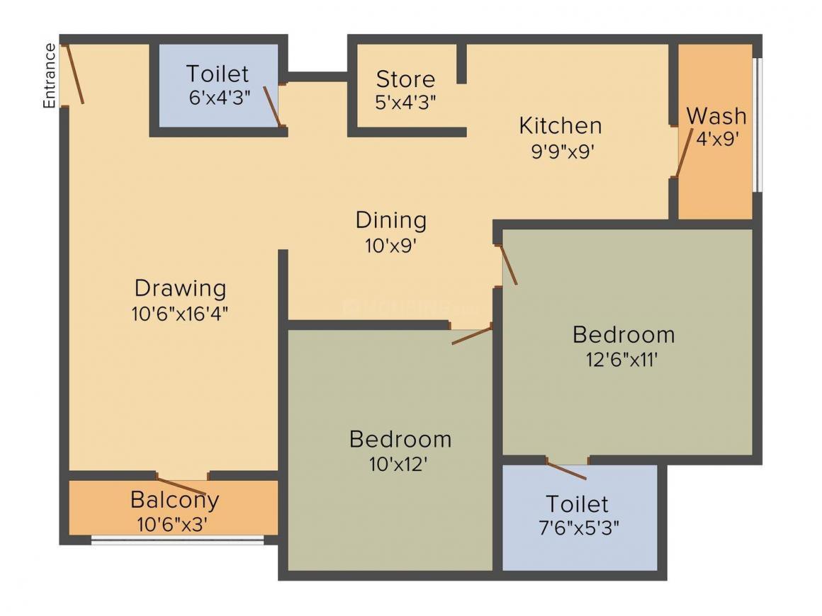 Floor Plan Image of 1296 - 1692 Sq.ft 2 BHK Apartment for buy in Shaligram Garden residency 3