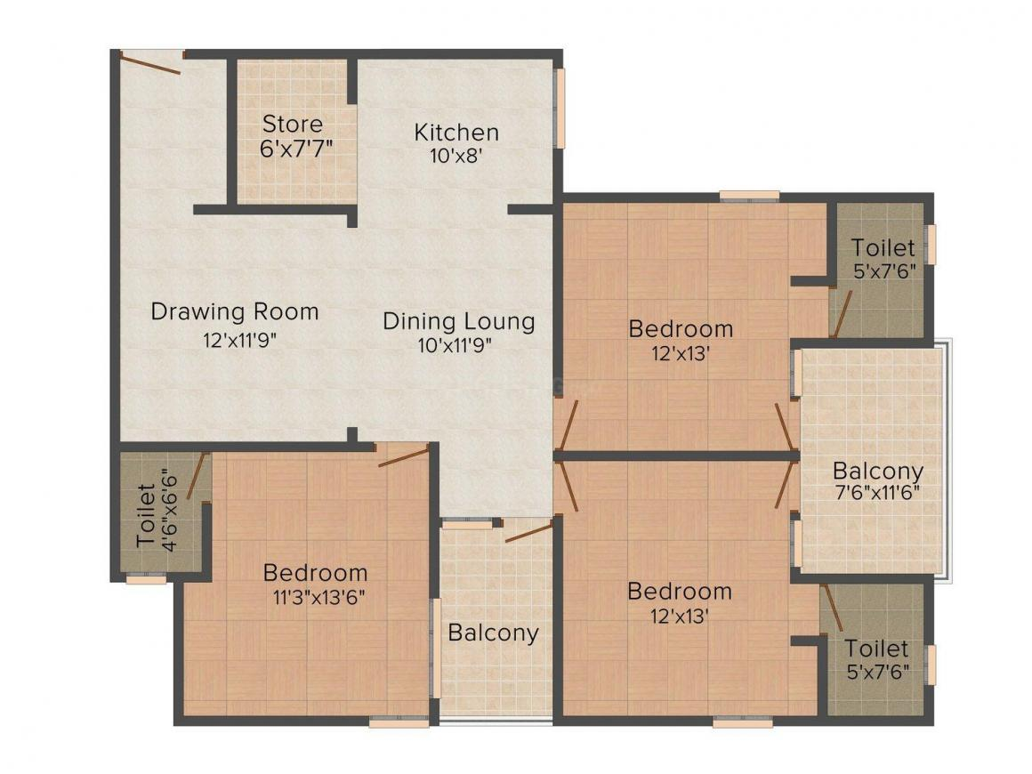 Floor Plan Image of 1240.0 - 1640.0 Sq.ft 2 BHK Apartment for buy in Shri Balaji Radha Krishna Apartment