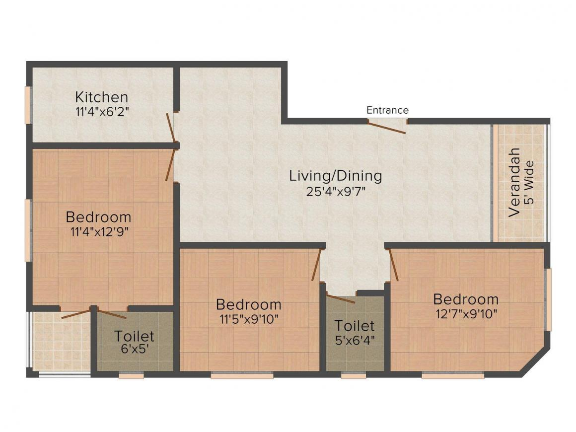 Floor Plan Image of 1392.0 - 1395.0 Sq.ft 3 BHK Apartment for buy in Biswas Jeet Royal