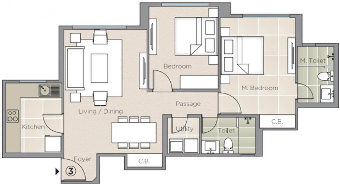 Hiranandani Skylark Enclave Floor Plan: 2 BHK Unit with Built up area of 766 sq.ft 1