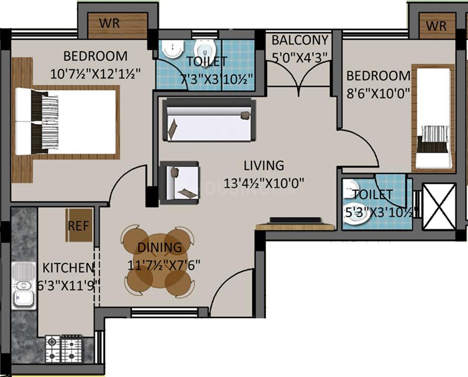 Dev LIC Nagar Floor Plan: 2 BHK Unit with Built up area of 846 sq.ft 1