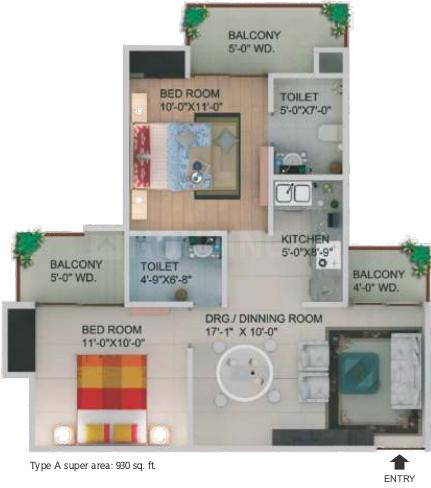 Supertech Cape Town Floor Plan: 2 BHK Unit with Built up area of 930 sq.ft 1