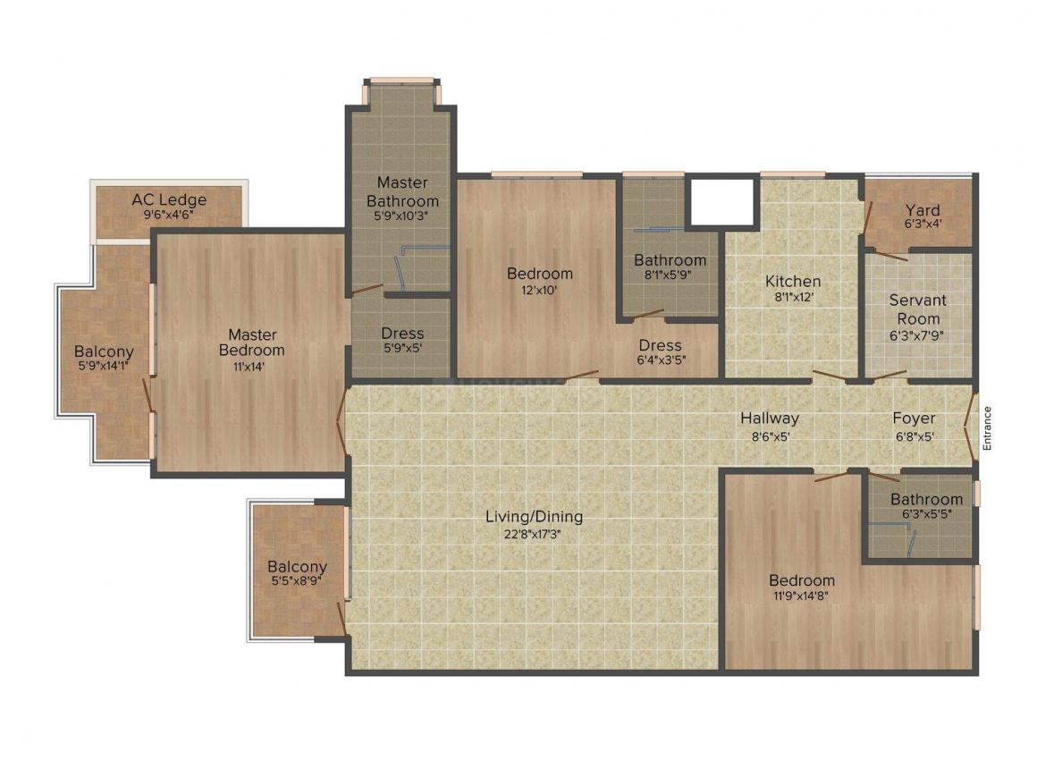 Emaar The Palm Drive Floor Plan: 3 BHK Unit with Built up area of 1900 sq.ft 1