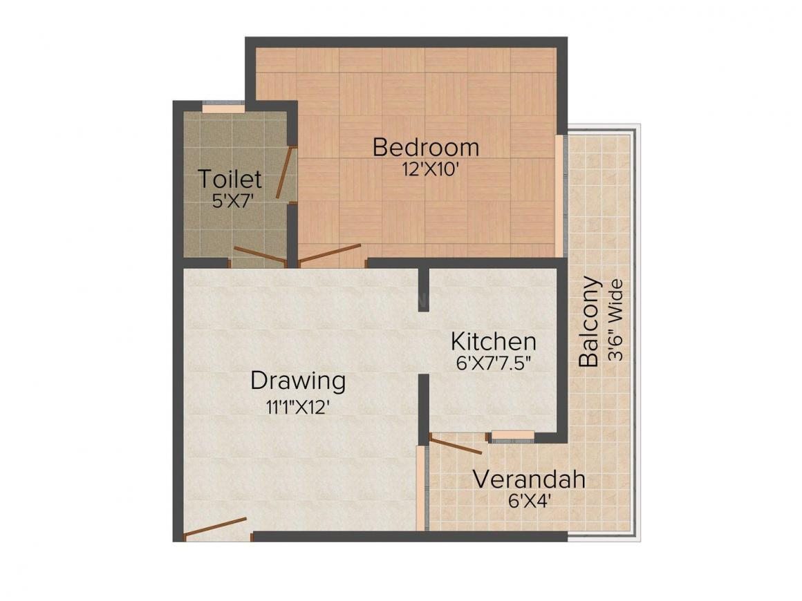 V.R. Silver Crown Residency Floor Plan: 1 BHK Unit with Built up area of 600 sq.ft 1