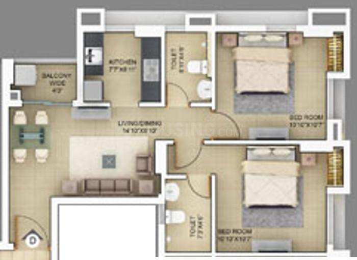 Primarc Projects Akriti Floor Plan: 2 BHK Unit with Built up area of 568 sq.ft 1