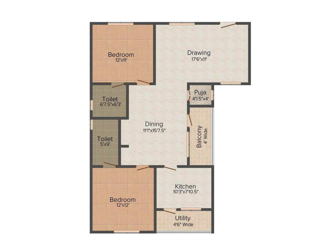 Floor Plan Image of 1142.0 - 1725.0 Sq.ft 2 BHK Apartment for buy in UMA Signature Towers