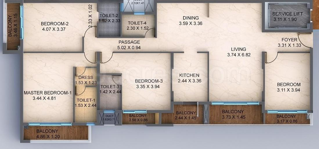 Nahar Tower Of Adyar Floor Plan: 4 BHK Unit with Built up area of 2380 sq.ft 1