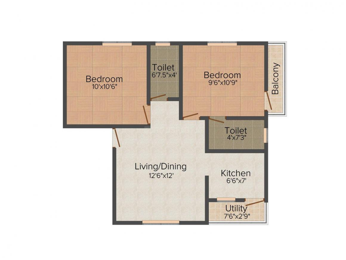 KMS Enclave Floor Plan: 2 BHK Unit with Built up area of 841 sq.ft 1