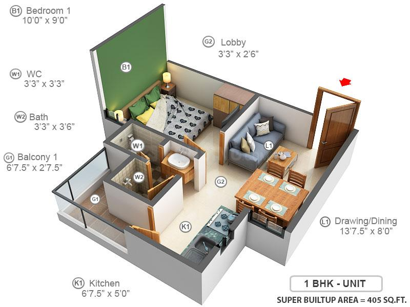 Chordias Atulya Floor Plan: 1 BHK Unit with Built up area of 405 sq.ft 1