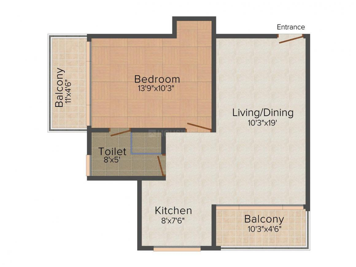 Royal Palms Floor Plan: 1 BHK Unit with Built up area of 805 sq.ft 1