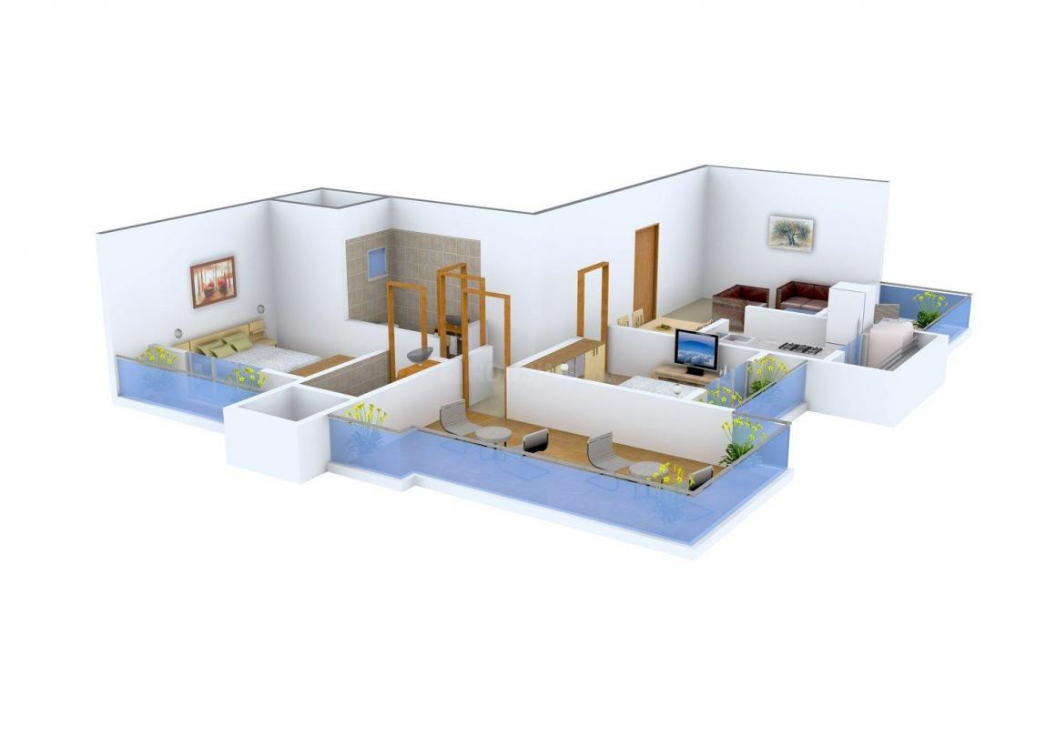 Floor Plan Image of 1625.0 - 1650.0 Sq.ft 2 BHK Apartment for buy in Maatoshree Sai Moreshwar Luxuria