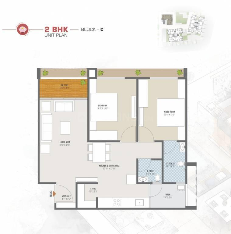 Lotus Heights Floor Plan: 2 BHK Unit with Built up area of 880 sq.ft 1