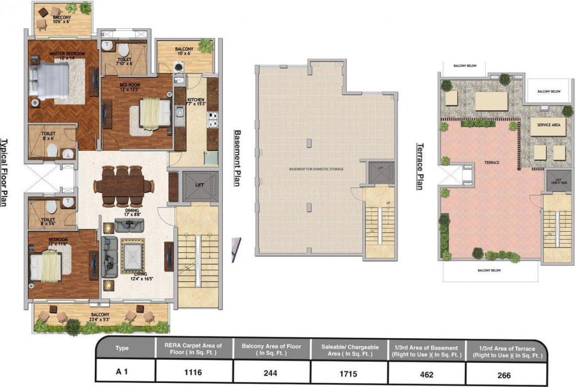 Adani Brahma Samsara Floor Plan: 3 BHK Unit with Built up area of 2443 sq.ft 1