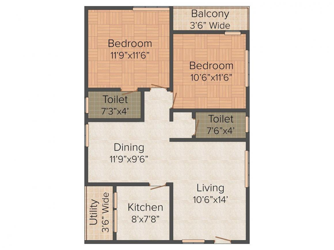 Floor Plan Image of 1025.0 - 1100.0 Sq.ft 2 BHK Apartment for buy in Vsp's Poojitha Elite