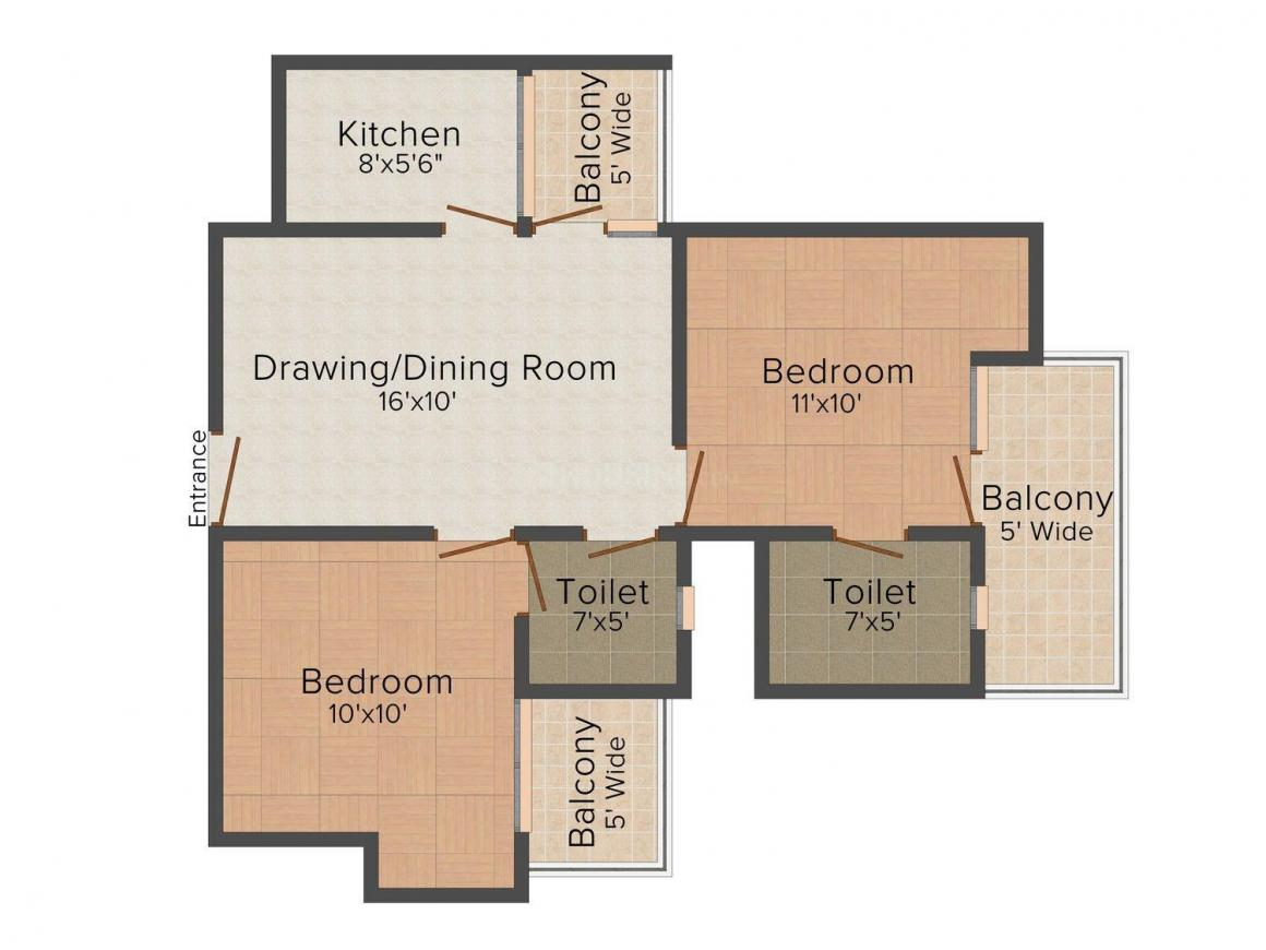 Floor Plan Image of 900 - 1100 Sq.ft 2 BHK Independent Floor for buy in Punj Homes 4