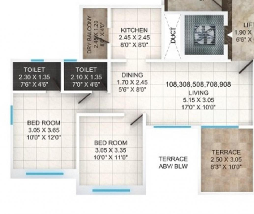 Anandtara Whitefield Residences Phase II Floor Plan: 2 BHK Unit with Built up area of 595 sq.ft 1