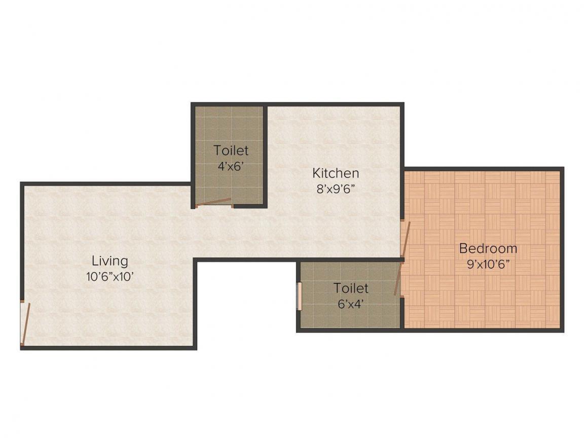 Annapurna Gujrat Annapurna Jewel Floor Plan: 1 BHK Unit with Built up area of 505 sq.ft 1
