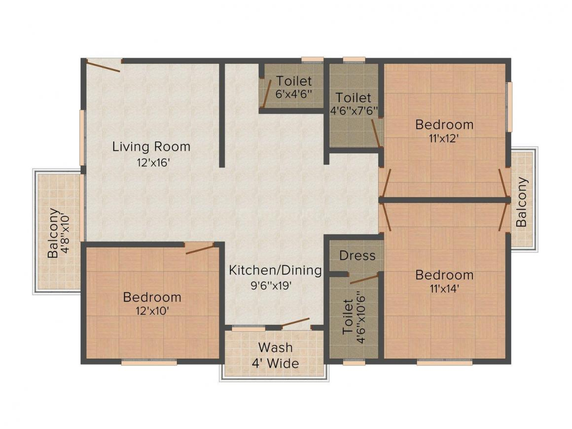Everest Experia Floor Plan: 3 BHK Unit with Built up area of 1725 sq.ft 1