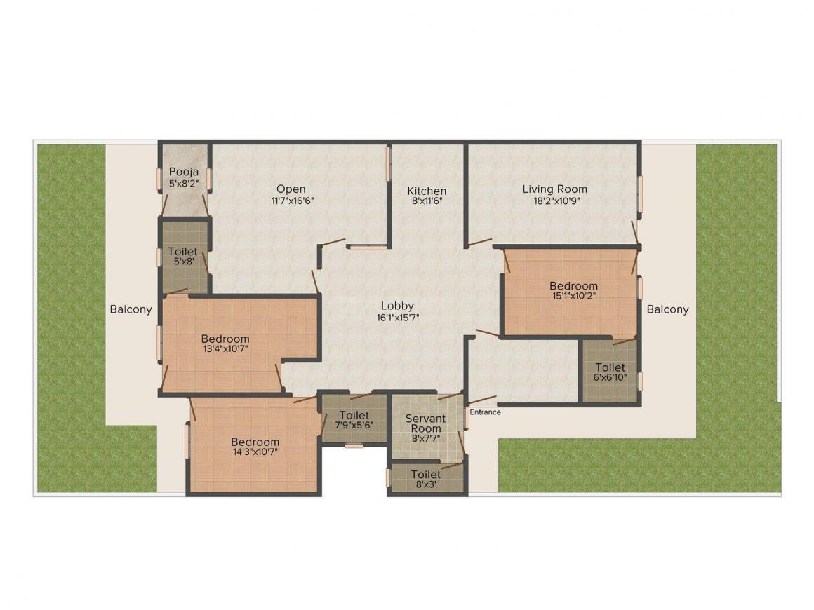 Floor Plan Image of 0 - 1050.0 Sq.ft 3 BHK Independent Floor for buy in Sunrise Sun Home 3