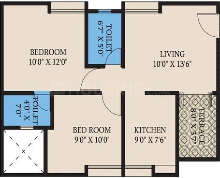 Realty7 Wonderwall Floor Plan: 2 BHK Unit with Built up area of 591 sq.ft 1