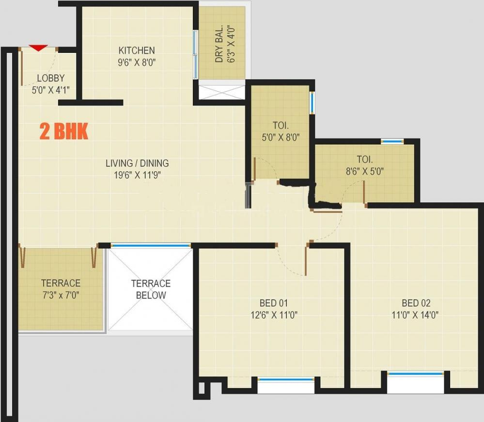 Rainbow Pebbles Floor Plan: 2 BHK Unit with Built up area of 1050 sq.ft 1
