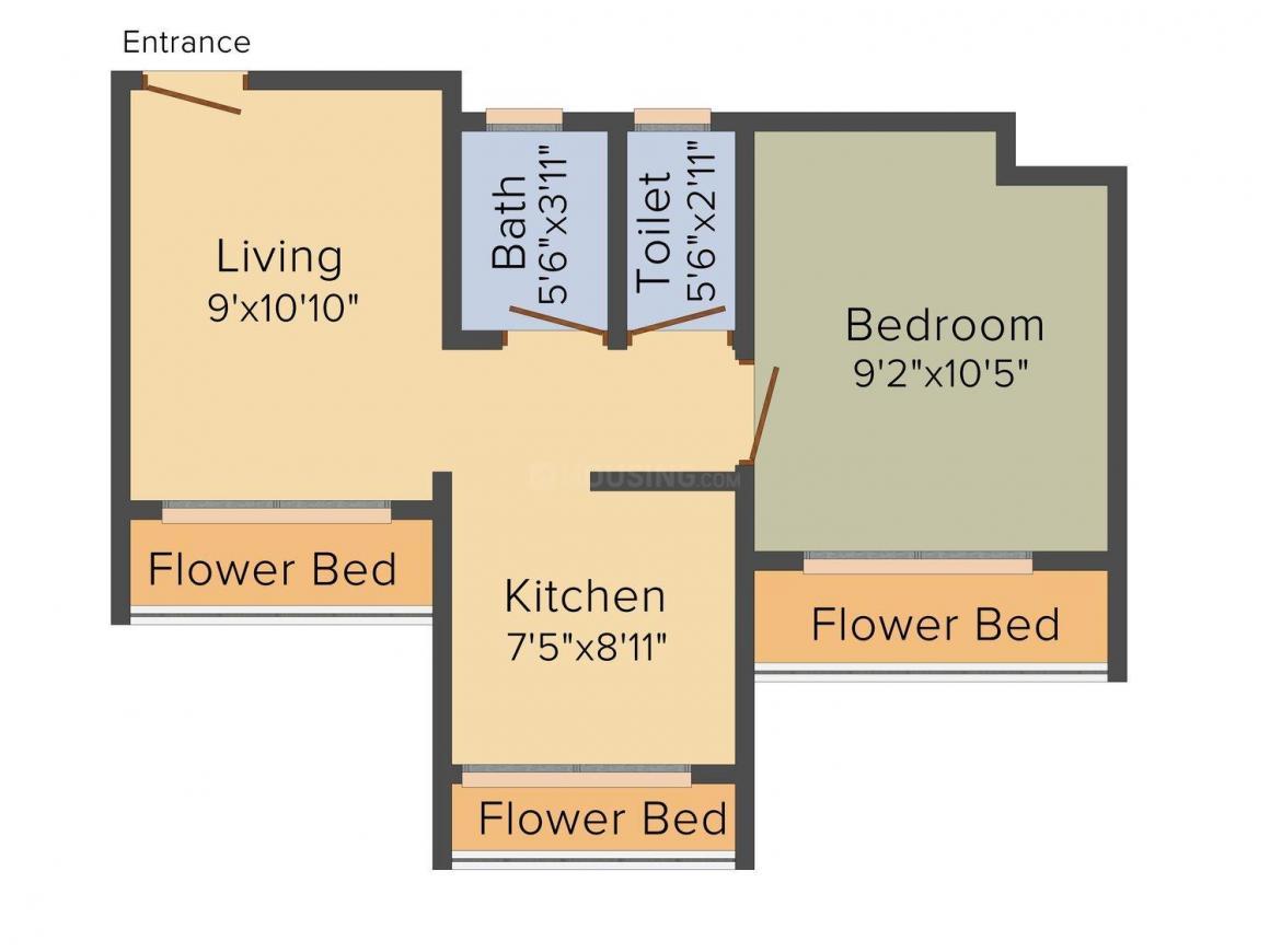 Floor Plan Image of 470 - 550 Sq.ft 1 RK Apartment for buy in Surya Malhar