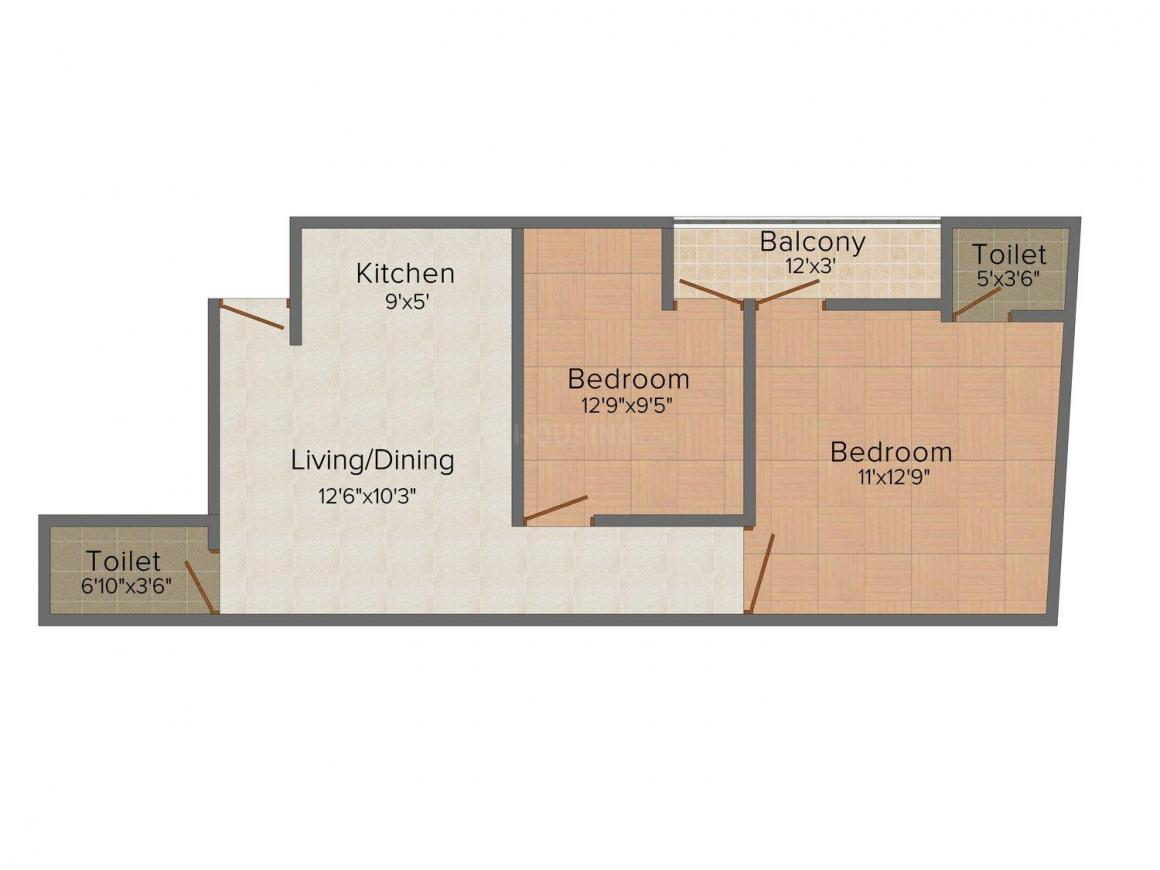 Areez A.B.U. Tower Floor Plan: 2 BHK Unit with Built up area of 750 sq.ft 1