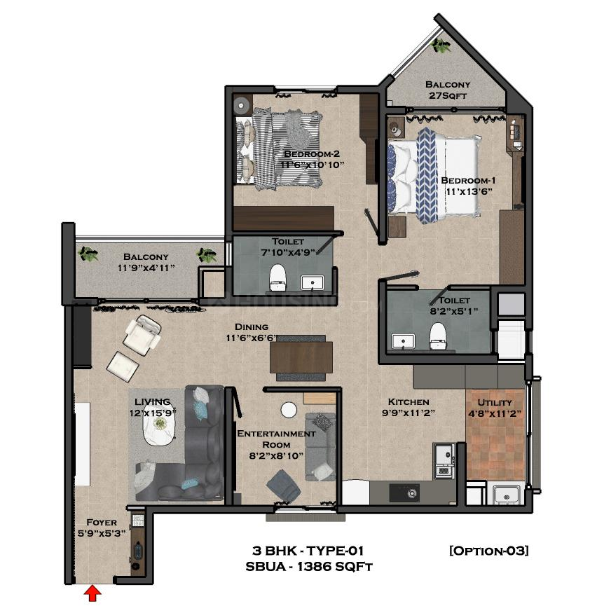 Bren Imperia Floor Plan: 2 BHK Unit with Built up area of 942 sq.ft 3