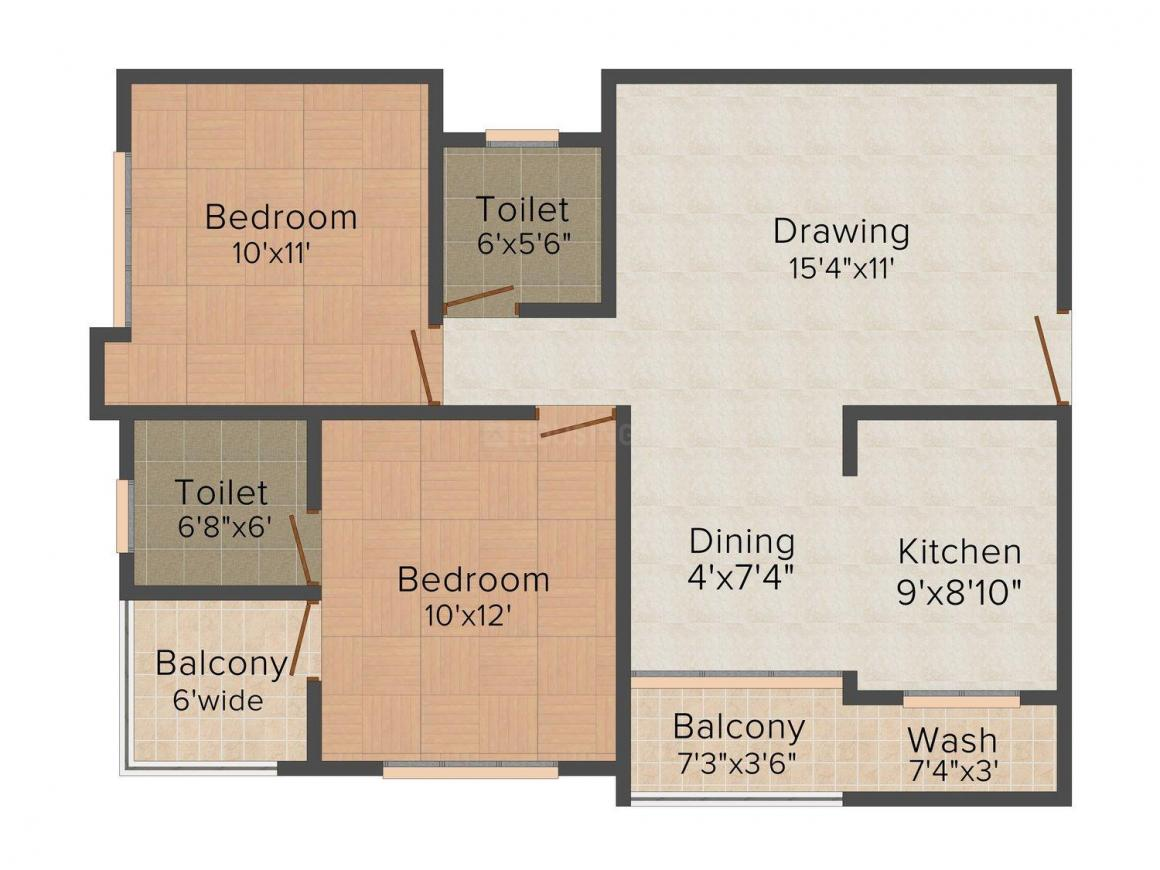 Floor Plan Image of 1079 - 1576 Sq.ft 2 BHK Apartment for buy in Shri Ram Sky Heights