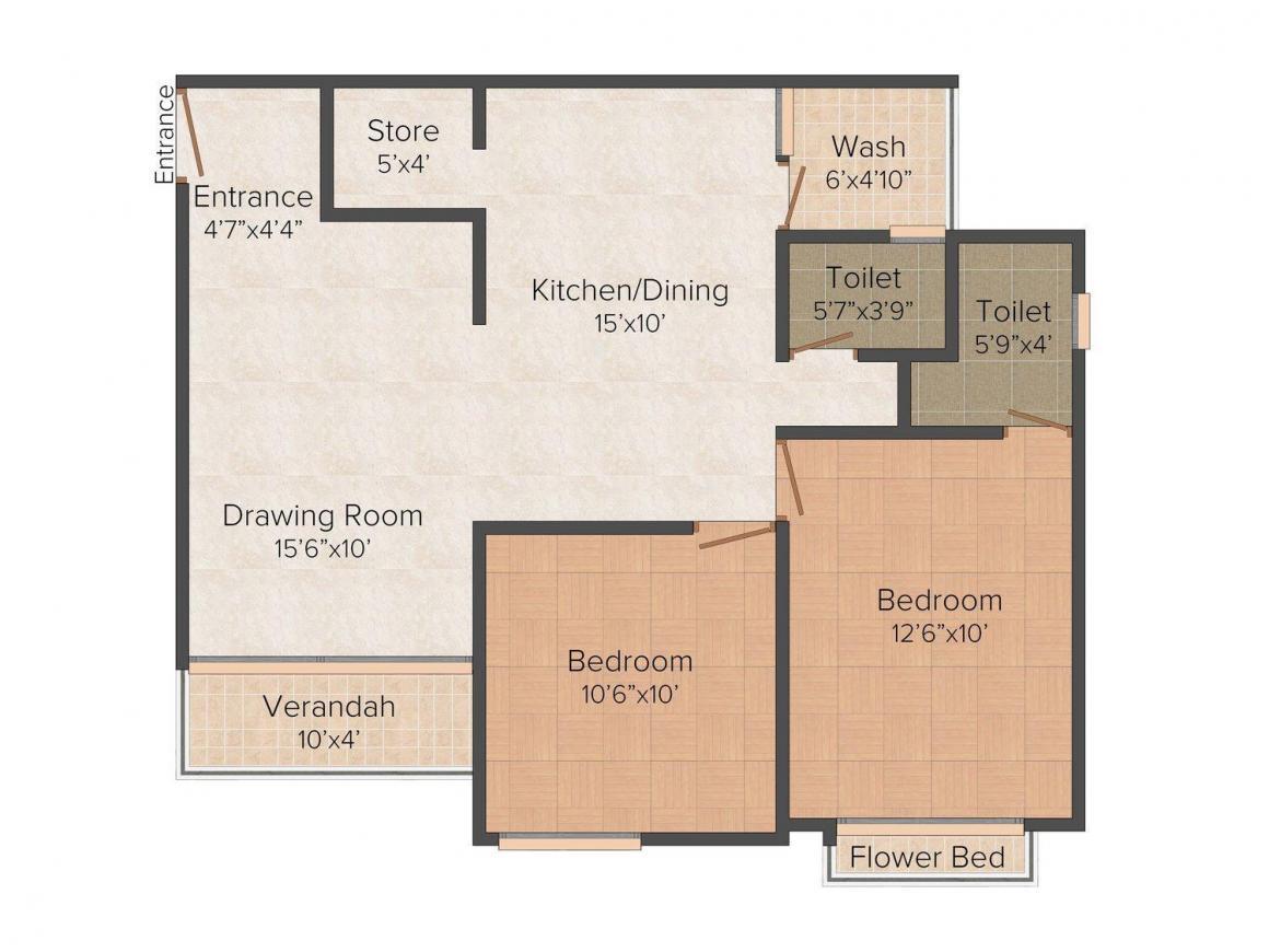 Rushabhdev Sharan Residency II Floor Plan: 2 BHK Unit with Built up area of 1170 sq.ft 1
