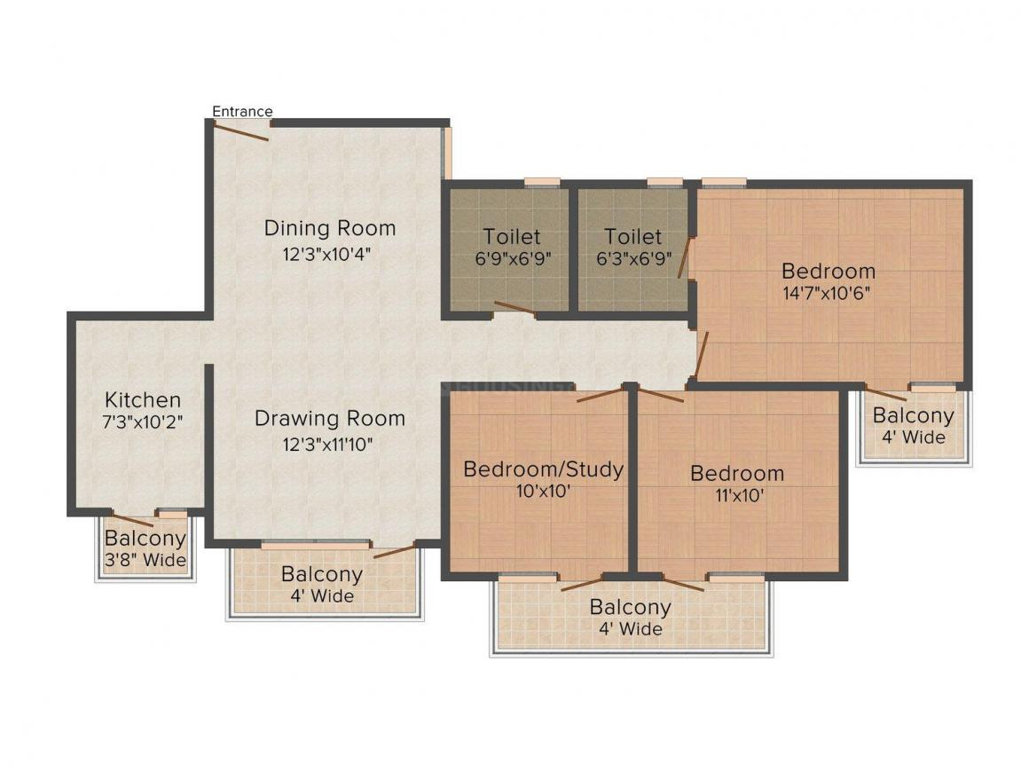 Floor Plan Image of 0 - 1350 Sq.ft 3 BHK Independent Floor for buy in Pride Homes 1