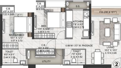 Rustomjee Azziano Wing J Floor Plan: 2 BHK Unit with Built up area of 619 sq.ft 1