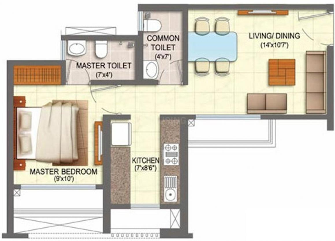 Runwal My City Phase II Cluster 4 Floor Plan: 1 BHK Unit with Built up area of 406 sq.ft 1