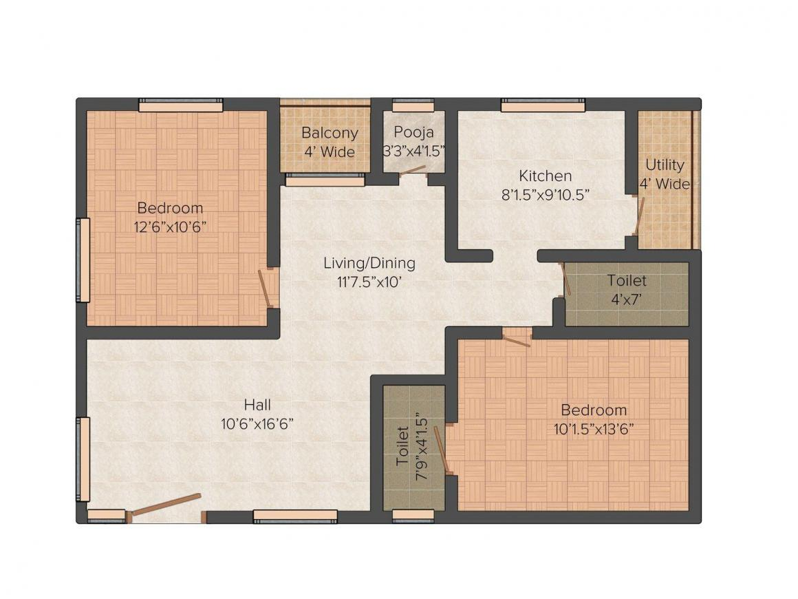 Floor Plan Image of 840.0 - 1050.0 Sq.ft 2 BHK Apartment for buy in SV Meadows