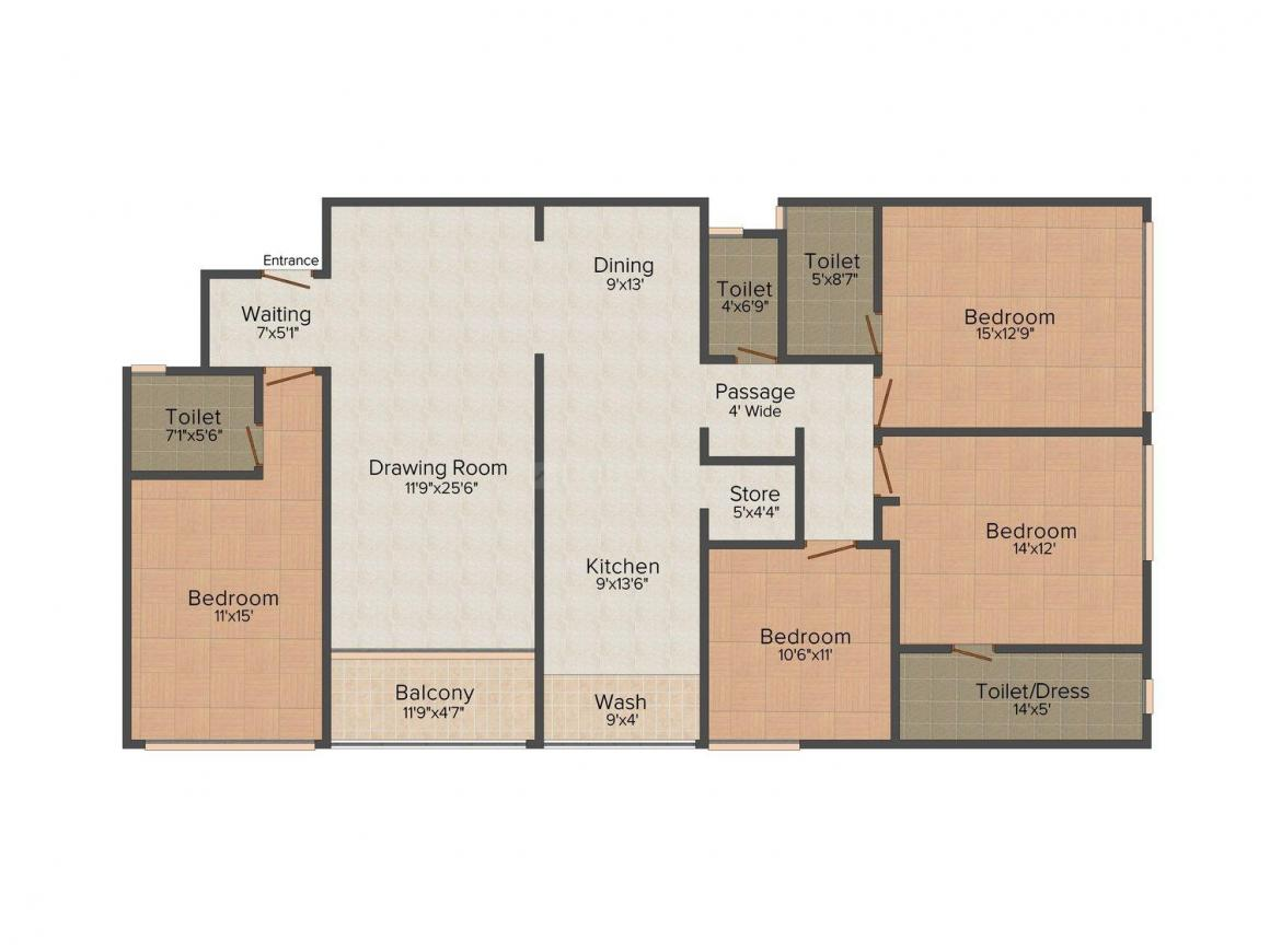 Shilp Blossom Luxuria Floor Plan: 3 BHK Unit with Built up area of 2925 sq.ft 1