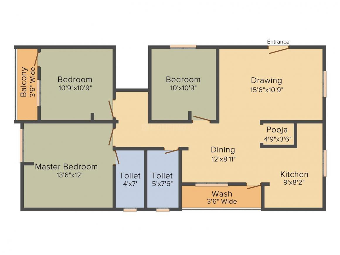 Sri Arcade Vrundavan Floor Plan: 3 BHK Unit with Built up area of 1425 sq.ft 1