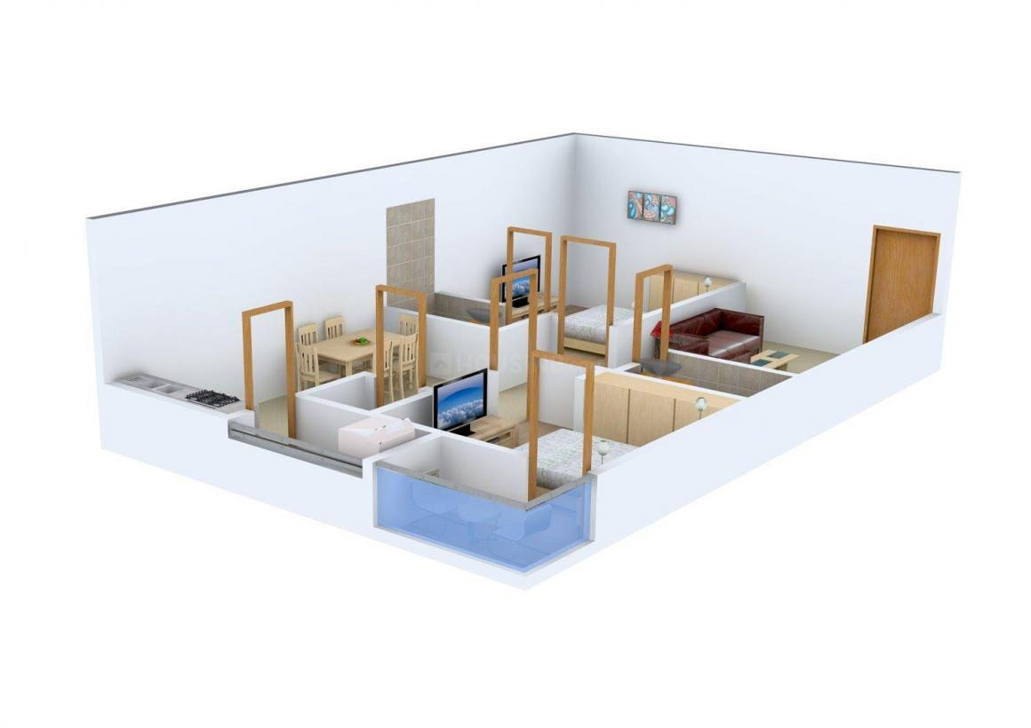 Venkat Residency Floor Plan: 2 BHK Unit with Built up area of 990 sq.ft 1
