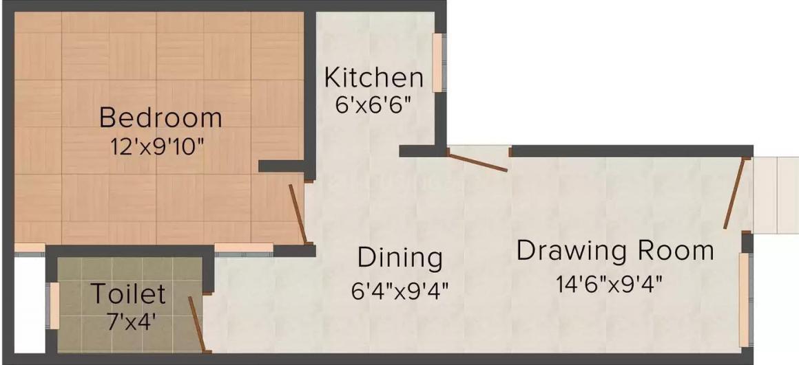 Shiv Shankar Krishna Homes Floor Plan: 1 BHK Unit with Built up area of 540 sq.ft 1