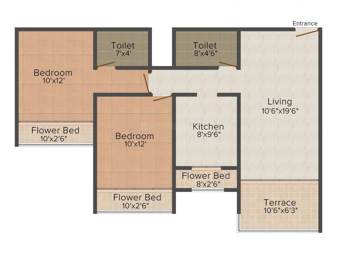 Floor Plan Image of 763.0 - 981.0 Sq.ft 1 BHK Apartment for buy in R R Residency