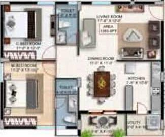 Goldstone Rock Gardens Floor Plan: 2 BHK Unit with Built up area of 1265 sq.ft 1