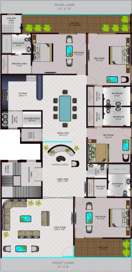 Lord Krishna Royal Floors Floor Plan: 4 BHK Unit with Built up area of 3200 sq.ft 1