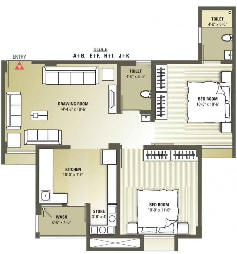 Avalon Courtyard Floor Plan: 2 BHK Unit with Built up area of 945 sq.ft 1